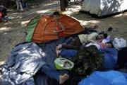 В Афинах беженцы спят на земле.