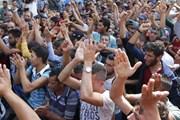 Митинг беженцев на вокзале Келети в Будапеште. // Reuters