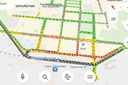 Транспортная ситуация во Внуково утром 18 июня // Яндекс.Карты
