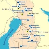 Карта горнолыжных курортов Финляндии