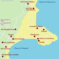 Карта курортов Магалуф и Пальма-Нова