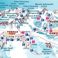Схема трасс в Пассо-Тонале (Доломити-ди-Брента)