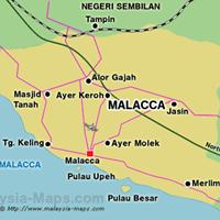 Карта штата Мелака