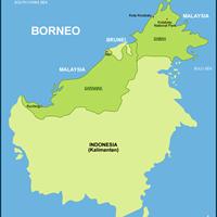Карта восточных штатов Малайзии (остров Борнео)