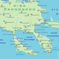 Карта полуострова Халкидики