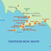 Карта курортов Тирренского моря