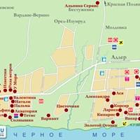 Карта курорта Адлер