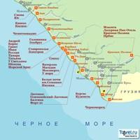 Карта курортов Большого Сочи