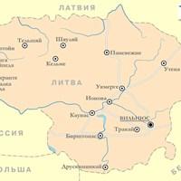 Карта курортов Литвы