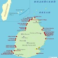 Карта курортов Маврикия