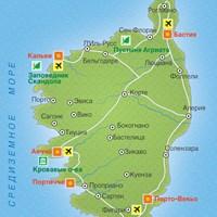 Карта курортов на острове Корсика