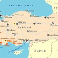 Карта курортов Турции