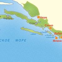 Карта курортов Южной Далмации