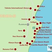 Карта курорта Аланья (врезка)