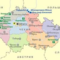 Карта горнолыжных и бальнеологических курортов Чехии