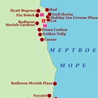 Карта курортов Мёртвого моря