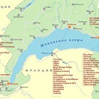 Карта курортов Женевского озера