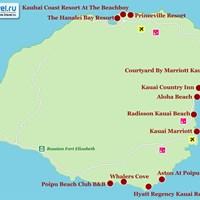 Карта острова Кауаи