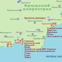 Карта курортов района Судак-Коктебель