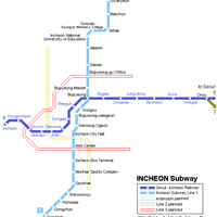 Схема метро в Инчхоне
