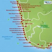 Карта Юго-Западного побережья Шри-Ланки